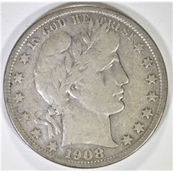 1908-O BARBER HALF DOLLAR, VF
