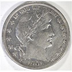 1901 BARBER HALF DOLLAR, VF