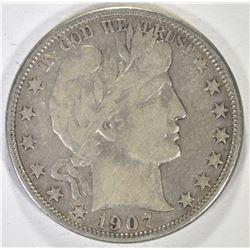 1907-O BARBER HALF DOLLAR, XF