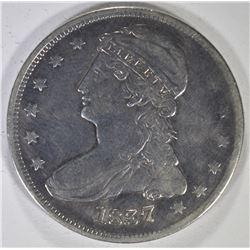 1837 REEDED EDGE BUST HALF DOLLAR, VF