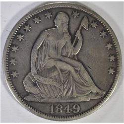 1849 SEATED HALF DOLLAR, VF