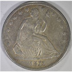 1871 SEATED HALF DOLLAR, XF