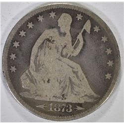 1873 WITH ARROWS SEATED HALF DOLLAR, VG