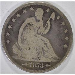 1873 WITH ARROWS SEATED HALF DOLLAR, VG
