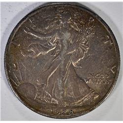 1928-S WALKING LIBERTY HALF DOLLAR, XF+