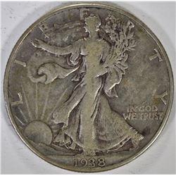 1938-D WALKING LIBERTY HALF DOLLAR, XF ORIGINAL!