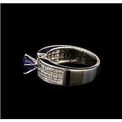 1.61 ctw Sapphire and Diamond Ring - 18KT White Gold