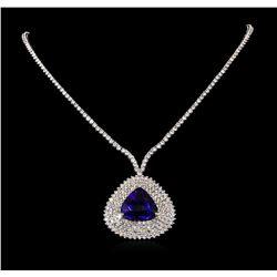 18KT White Gold 24.23 ctw Tanzanite and Diamond Necklace