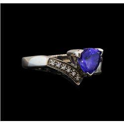 18KT White Gold 1.34 ctw Tanzanite and Diamond Ring