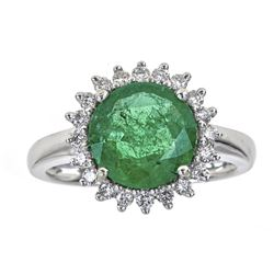 2.91 ctw Emerald and Diamond Ring - 18KT White Gold
