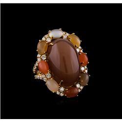 28.98 ctw Sunstone, Moonstone and Diamond Ring - 18KT Yellow Gold
