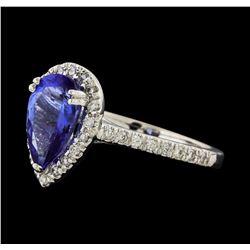 1.65 ctw Tanzanite and Diamond Ring - 14KT White Gold