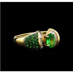 1.57 ctw Tsavorite Garnet and Diamond Ring - 14KT Yellow Gold