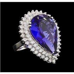 GIA Cert 17.33 ctw Tanzanite and Diamond Ring - 14KT White Gold