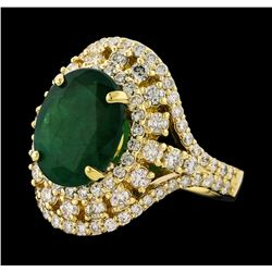 4.10 ctw Emerald and Diamond Ring - 14KT Yellow Gold