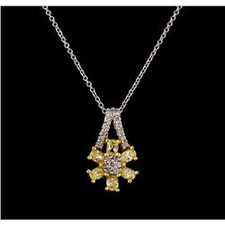 0.85 ctw Diamond Pendant With Chain - 18KT Two-Tone Gold