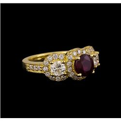 14KT Yellow Gold 1.78 ctw Ruby and Diamond Ring