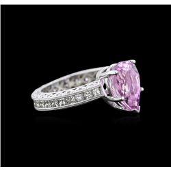 3.17 ctw Kunzite and Diamond Ring - 14KT White Gold