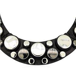 Metallic Button Bib Necklace - Black Plated