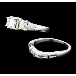 1.14 ctw Diamond Ring & Wedding Band - 14KT White Gold
