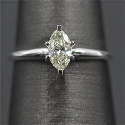 0.52 ctw Marquise Diamond Solitaire Ring - 14KT White Gold