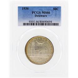 1936 Delaware Commemorative Half Dollar Coin PCGS MS66
