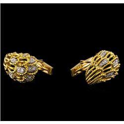 0.80 ctw Diamond Cuff Links - 14KT Yellow Gold