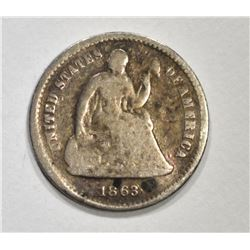 1863-S SEATED HALF DIME, VG