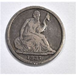 1837 SEATED HALF DIME, FINE
