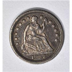 1857-O SEATED HALF DIME, XF/AU