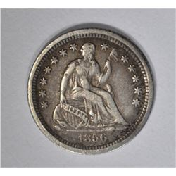 1856-O SEATED HALF DIME, XF