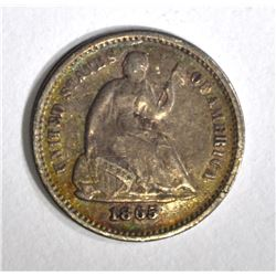 1865-S SEATED HALF DIME, F/VF KEY DATE