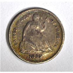 1865-S SEATED HALF DIME, F/VF KEY DATE