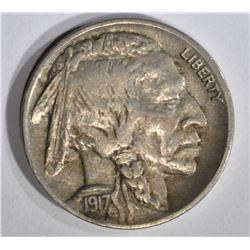 1917-D BUFFALO NICKEL, XF