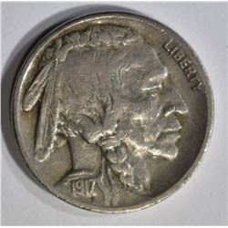 1917-S BUFFALO NICKEL, VF/XF