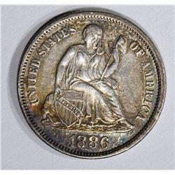 1886 SEATED DIME, AU+
