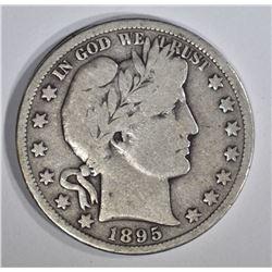 1895-S BARBER HALF DOLLAR, VG