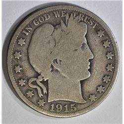 1915 BARBER HALF DOLLAR, VG KEY