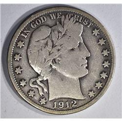 1912-S BARBER HALF DOLLAR, XF