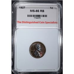 1927 LINCOLN CENT, TDCS GEM BU RB