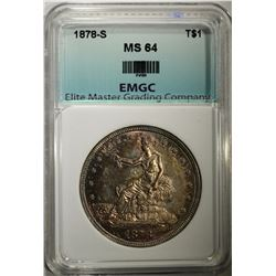 1878-S TRADE DOLLAR, EMGC CH/GEM BU