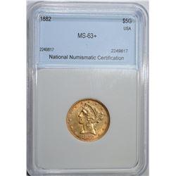 1882 $5 GOLD LIBERTY NNC CH BU+