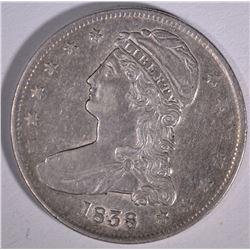 1838 CAPPED BUST HALF DOLLAR  AU