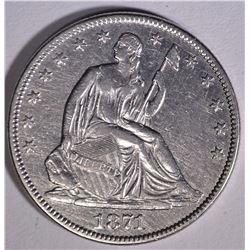 1871 SEATED LIBERTY HALF DOLLAR  AU