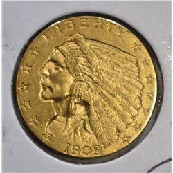 1909 $2 1/2 GOLD INDIAN HEAD  CH BU