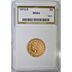 1912-S $5 GOLD INDIAN HEAD NGS CH BU