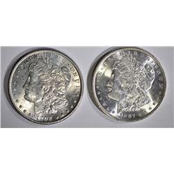 1887 & 1902-O CH BU MORGAN DOLLARS