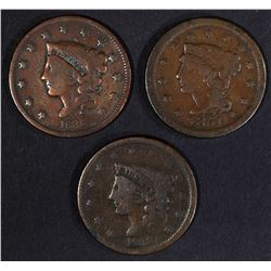 1836, 38 & 51 LARGE CENTS, ALL VG