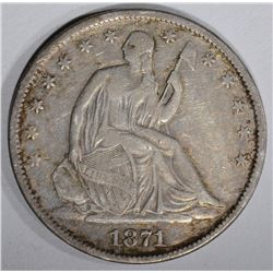 1871-S SEATED HALF DOLLAR, XF