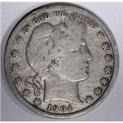 1904-S BARBER HALF DOLLAR, G/VG